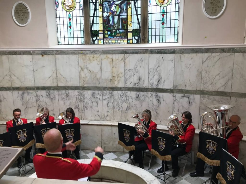 Burbage Brass Band play at the official re-opening of The Pump Room in Buxton, Derbyshire.